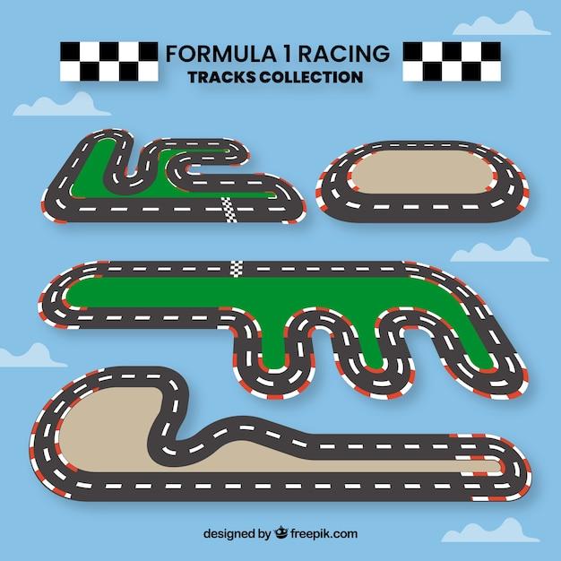 Coleção de pistas de corrida f1 Vetor grátis