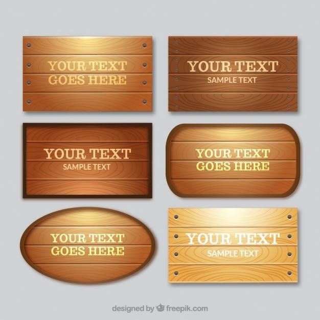 Coleção de placas de madeira Vetor grátis