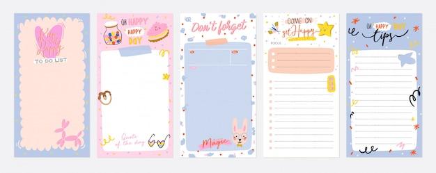 Coleção de planejador semanal ou diário, papel de nota, lista de tarefas, modelos de adesivos decorados com ilustrações de crianças fofas e citações inspiradoras Vetor Premium