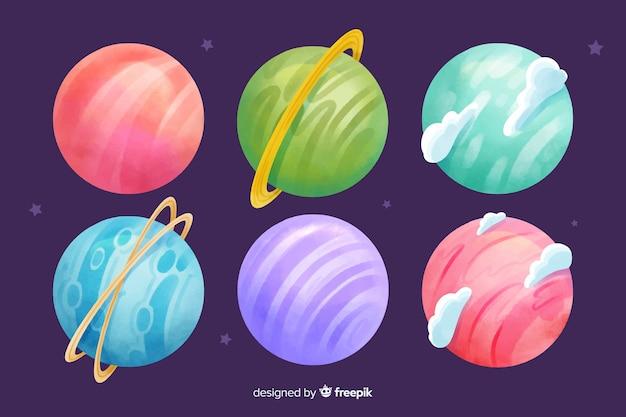 Coleção de planetas de aquarela colorida Vetor grátis