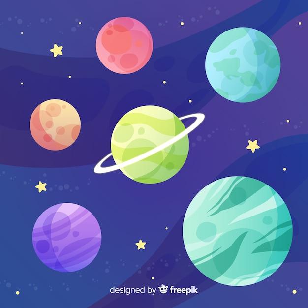 Coleção de planetas de sistema solar design plano Vetor grátis