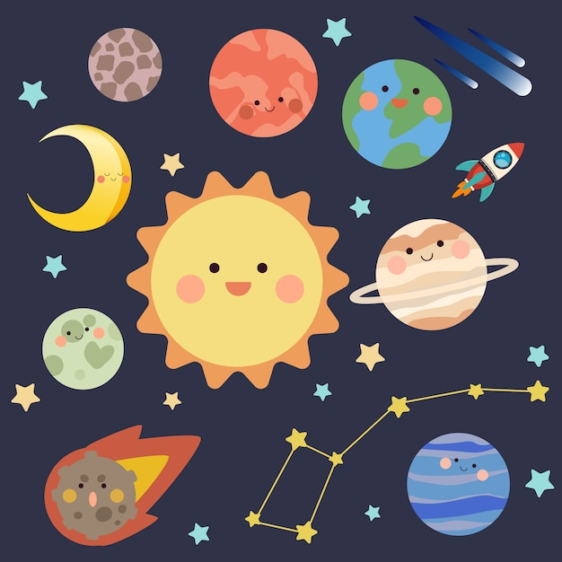 Coleção de planetas e estrelas Vetor Premium
