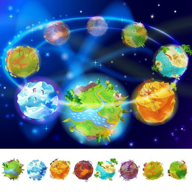Coleção de planetas terrestres dos desenhos animados Vetor grátis