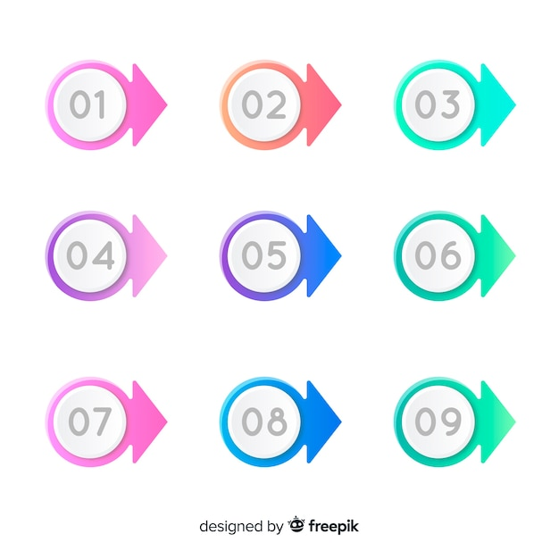 Coleção de ponto de bala colorido 3d Vetor grátis