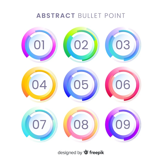 Coleção de ponto de bala colorido abstrato Vetor grátis