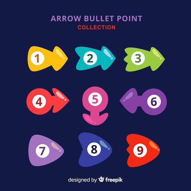 Coleção de ponto de bala seta colorida Vetor grátis