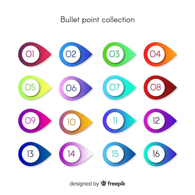Coleção de ponto de marcador de gradiente Vetor grátis