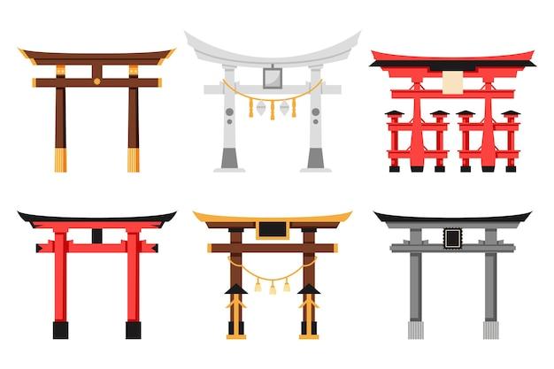 Coleção de portão torii de design plano Vetor grátis