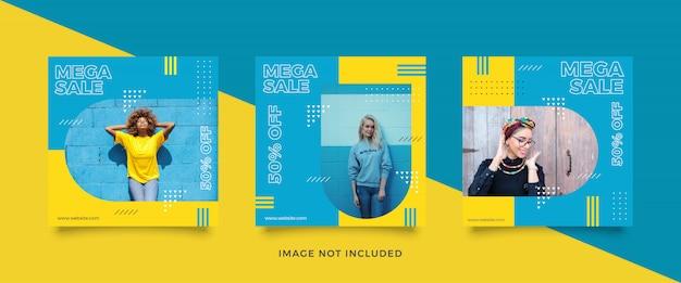 Coleção de pós venda de mídia social de moda Vetor Premium
