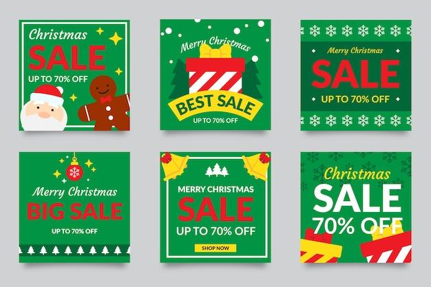 Coleção de post de venda de natal do instagram Vetor grátis