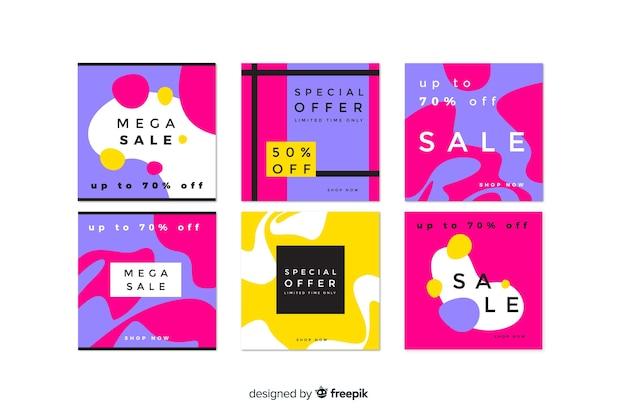 Coleção de postagem abstrata do instagram de venda Vetor grátis