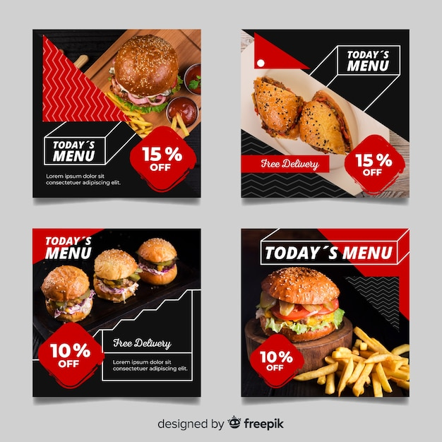 Coleção de postagem de instagram de hambúrgueres saborosos com foto Vetor grátis
