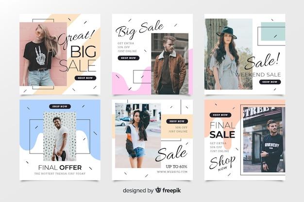 Coleção de postagem de instagram de venda de moda abstrata Vetor Premium