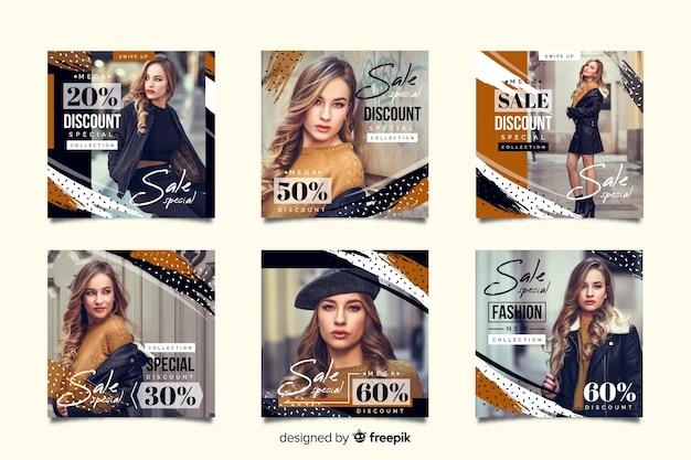 Coleção de postagem de instagram de venda de moda abstrata Vetor grátis