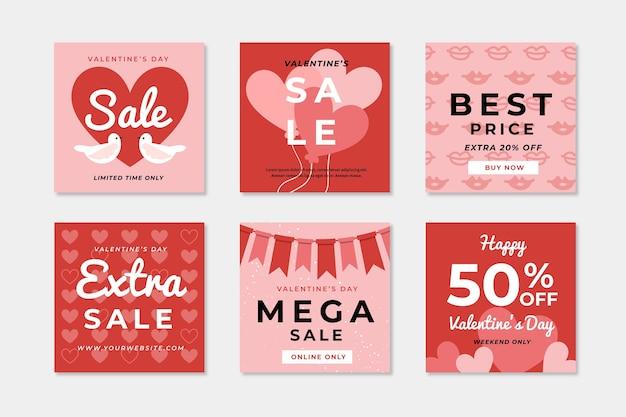 Coleção de postagem de mídia social de venda do dia dos namorados Vetor grátis
