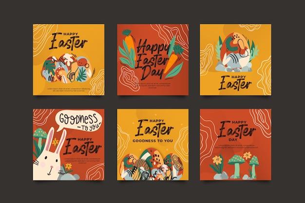 Coleção de postagem do instagram com tema do dia de páscoa Vetor grátis