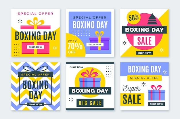 Coleção de postagem do instagram de venda de dia de boxe Vetor grátis