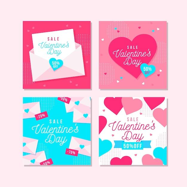 Coleção de postagem do instagram de venda de dia dos namorados Vetor grátis