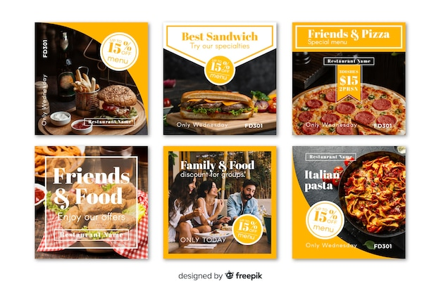 Coleção de postagens culinárias do instagram com foto Vetor grátis