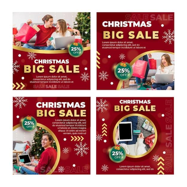 Coleção de postagens de anúncios de vendas de natal Vetor Premium