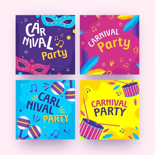 Coleção de postagens de festa de carnaval Vetor grátis