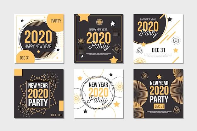 Coleção de postagens de festa do ano novo 2020 Vetor grátis