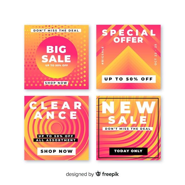 Coleção de postagens de venda de banners gradientes Vetor grátis