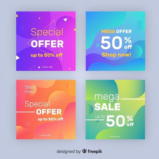Coleção de postagens de venda de gradiente instagram Vetor grátis