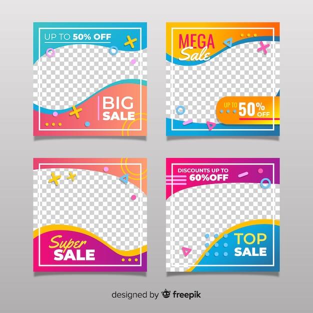 Coleção de postagens de venda de gradiente instagram Vetor Premium