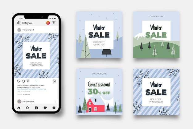 Coleção de postagens de venda de inverno Vetor grátis