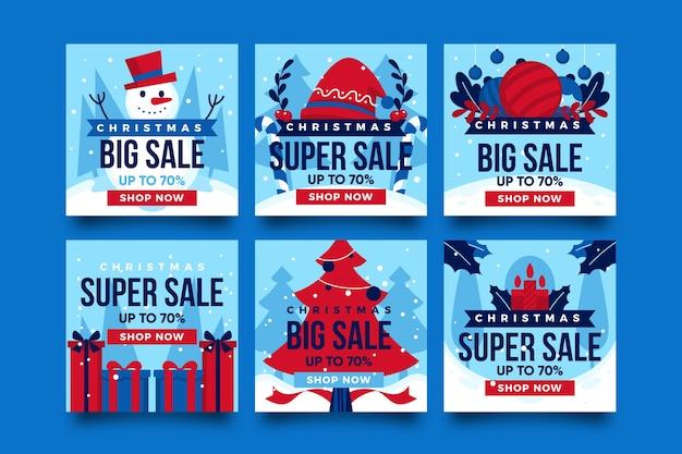 Coleção de postagens de venda de natal Vetor grátis