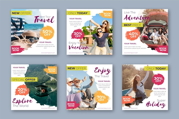 Coleção de postagens de venda de viagens do instagram Vetor Premium
