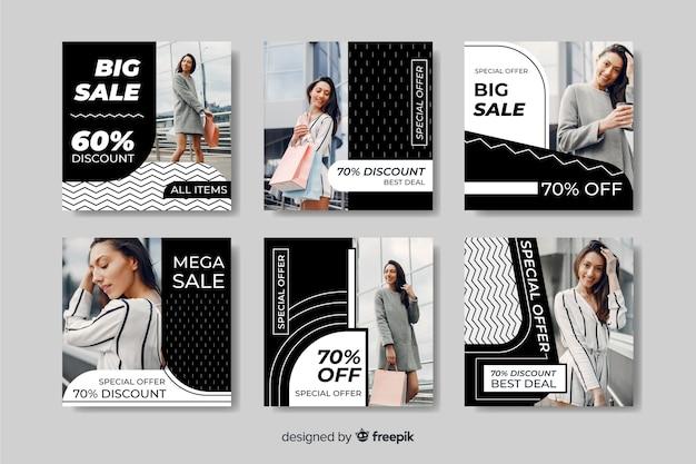 Coleção de postagens diferentes do instagram de venda de moda com descontos diferentes Vetor grátis