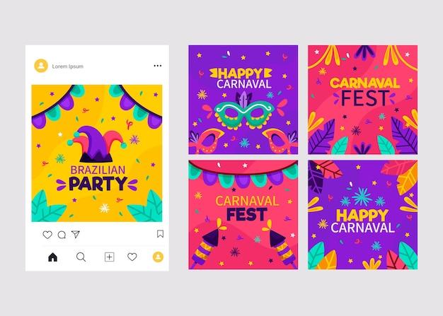 Coleção de postagens do carnaval Vetor grátis