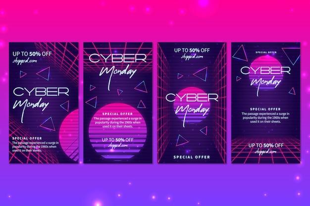 Coleção de postagens do cyber monday ig Vetor Premium