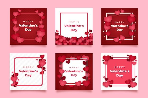 Coleção de postagens do dia dos namorados Vetor Premium