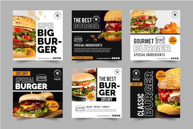 Coleção de postagens do instagram burger Vetor grátis