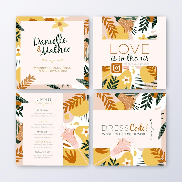 Coleção de postagens do instagram com folhas para casamento Vetor grátis