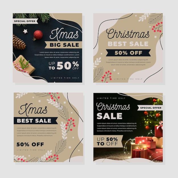Coleção de postagens do instagram com promoções de natal Vetor grátis