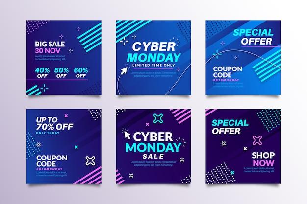 Coleção de postagens do instagram da cyber monday Vetor Premium