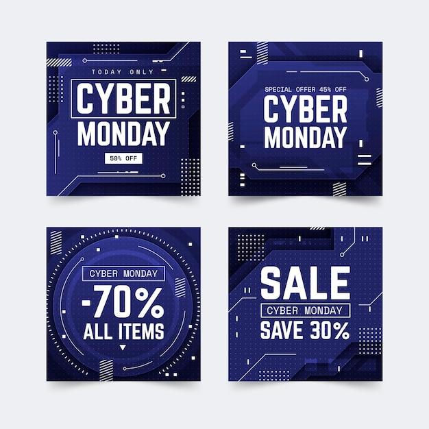 Coleção de postagens do instagram da cyber monday Vetor grátis
