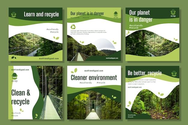 Coleção de postagens do instagram de ecologia Vetor grátis