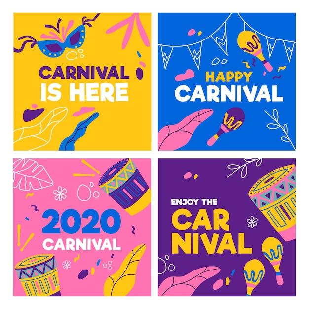 Coleção de postagens do instagram de festa de carnaval Vetor grátis