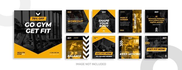 Coleção de postagens do instagram de ginástica e esporte Vetor Premium