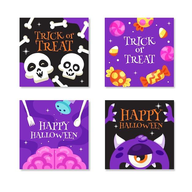Coleção de postagens do instagram de halloween Vetor grátis