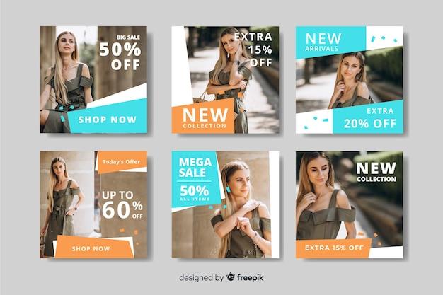 Coleção de postagens do instagram de moda feminina Vetor Premium