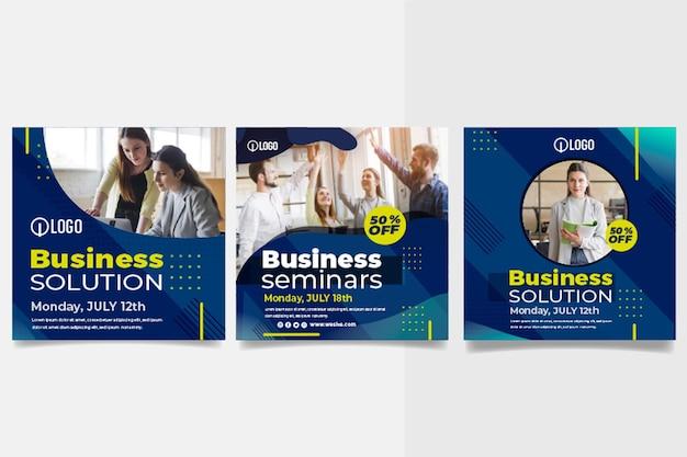 Coleção de postagens do instagram de negócios de marketing Vetor grátis