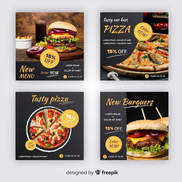 Coleção de postagens do instagram de pizza e hambúrgueres Vetor grátis