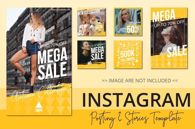 Coleção de postagens do instagram de venda de beleza Vetor Premium