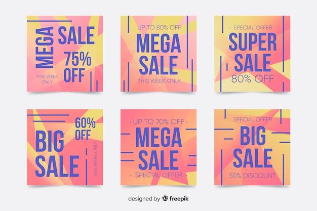 Coleção de postagens do instagram de venda de cores quentes Vetor grátis